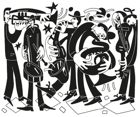 jazz musicians - vector drawing illustration cartoon 向量圖像