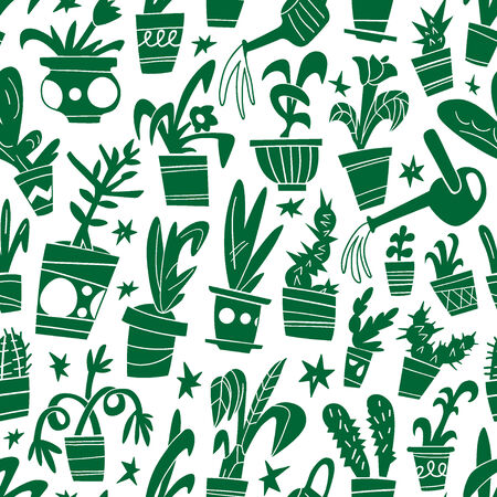 houseplants: houseplants - seamless vector background with icons Illustration