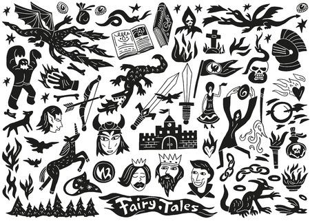 fairy tales - doodles set vector cartoons Illustration