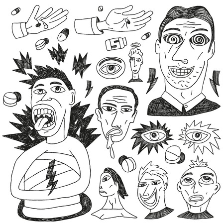 psycho: crazy people - doodles set icons in sketch style