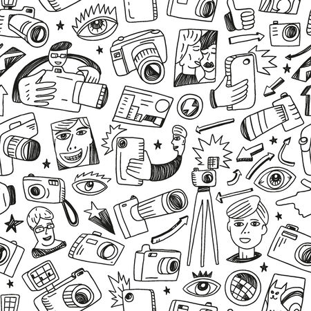 Photography - seamless vector background with icons in sketch style Vector
