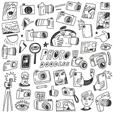 Photography - set vector icons in sketch style Vector