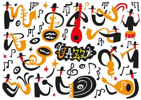 jazz musicians - vector icons in graphic style Vector