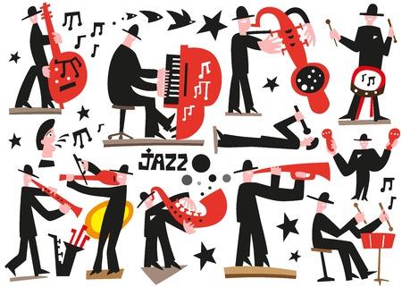 tenore: icone vettoriali in stile grafico - musicisti jazz