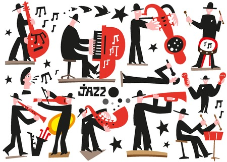 jazz musicians - vector icons in graphic style Stock Vector - 29644099