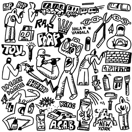 rap,hip hop ,graffiti - set icons in sketch style Illustration