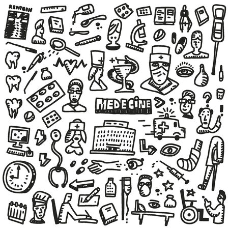 Medicine - set vector icons in sketch style Vector