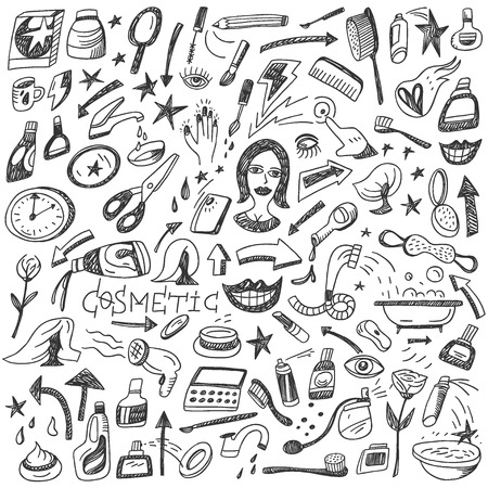 hair beauty: Cosmetic -set vector icons in sketch style