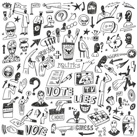 politics: Politics - set vector icons in sketch style