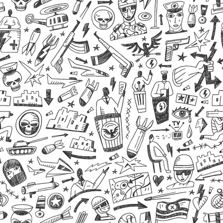 war - seamless background with icons in sketch style Vector