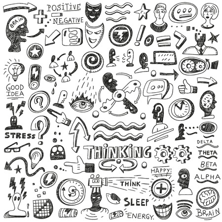 mental health problems: Thinking ,psychology - set vector icons in sketch style