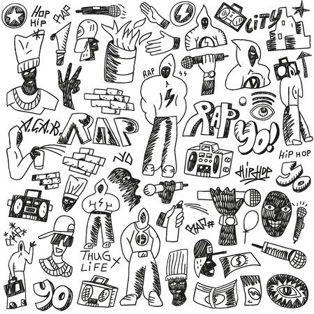 rap: rap - set vector icons in sketch style