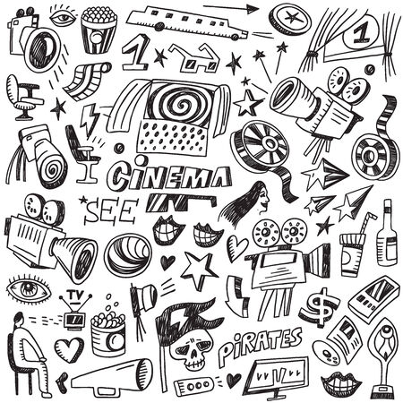 cinematographer: Cinema - set vector icons in sketch style Illustration