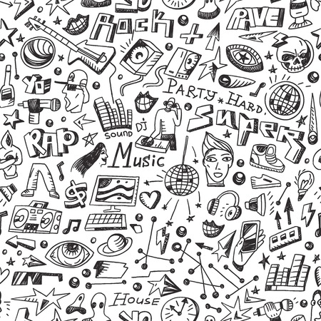 Music - seamless vector background with icons in sketch style