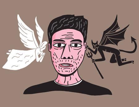 conciencia moral: hombre entre �ngel y demonio ilustraci�n Vectores