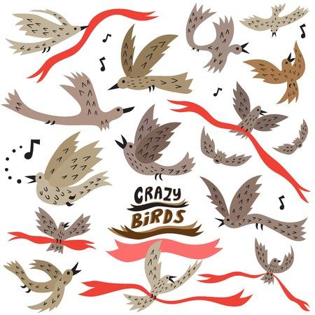 flying birds symbols set