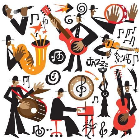 tenore: musicisti jazz set illustrazioni Vettoriali
