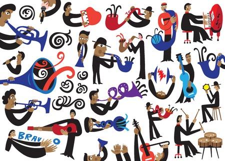jazz musicians set Illustration