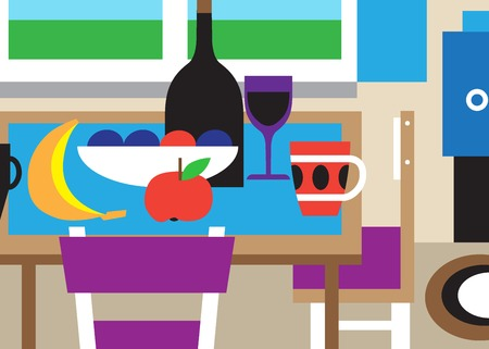 simple life: still life - colourful simple vector illustration , design element