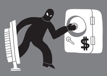 computer hacker: furto di computer, hacker, - illustrazione vettoriale in stile schizzo