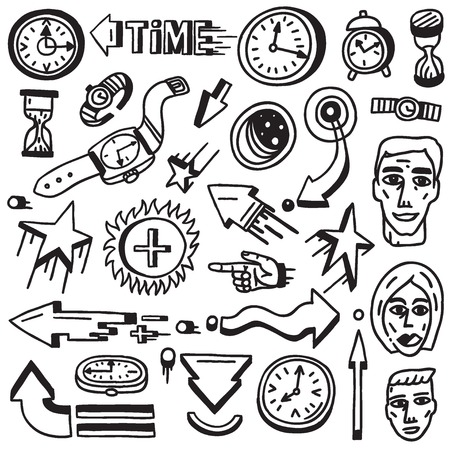 Time - set vector icons in sketch style , design elements Vector