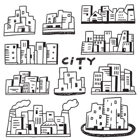 buildings city: city - set vector icons in sketch style , design element