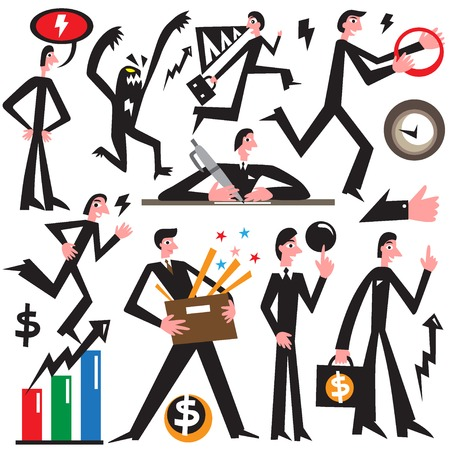 time money: businessman- simple vector cartoon , set design elements