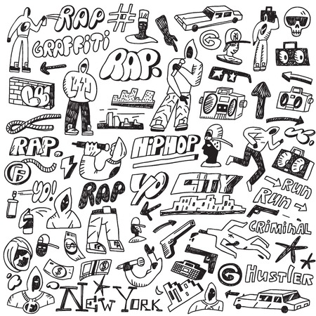 graffiti wall: rap - set icons in sketch style, design elements Illustration