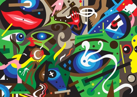 psycho: psychology abstract background - colourful vector illustration , design element Illustration