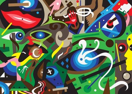 psychology abstract background - colourful vector illustration , design element Çizim