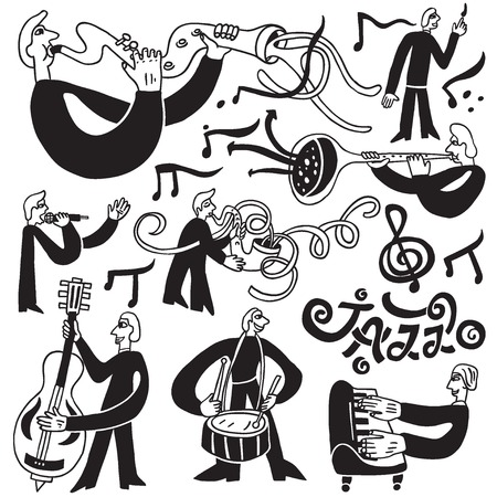brass band: jazz musicians - set vector icons in sketch style , design elements