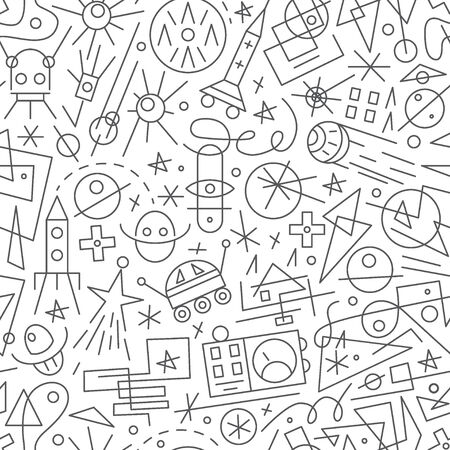 space - seamless pattern with icons in sketch style , design elements Vector