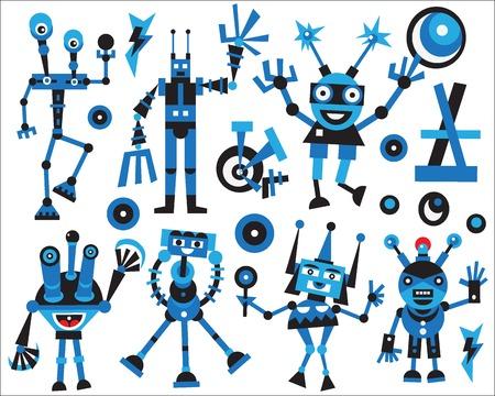 deign: Robots icons - set colourful vector cartoons , deign elements Illustration