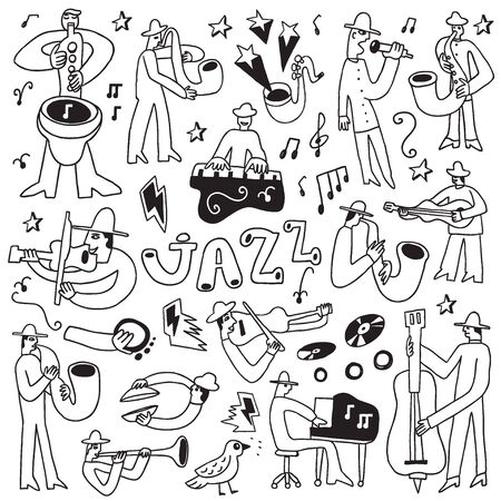jazz musicians- set vector icons in sketch style Vector