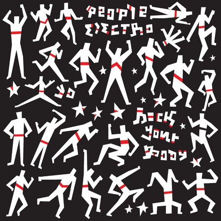 dancing people: dancing people - set  vector symbols in graphic style