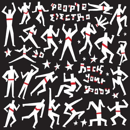people dancing: gente che balla - simboli vettoriali set in stile grafico