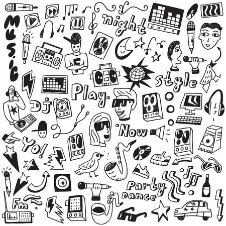 caricaturas de animales: Garabatos de Música - iconos conjunto de vectores en el estilo de dibujo