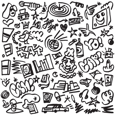 rap doodles- set vector icons in sketch style Illustration
