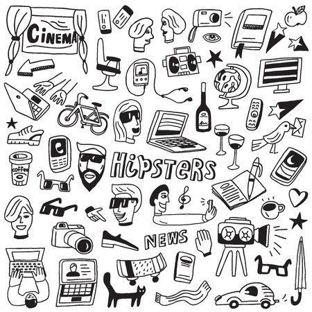 teenager boy: hipsters - set vector icons in sketch style