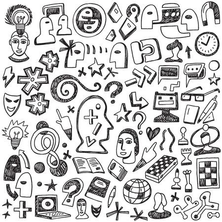 Thinking  symbols - set icons in sketch style Illustration