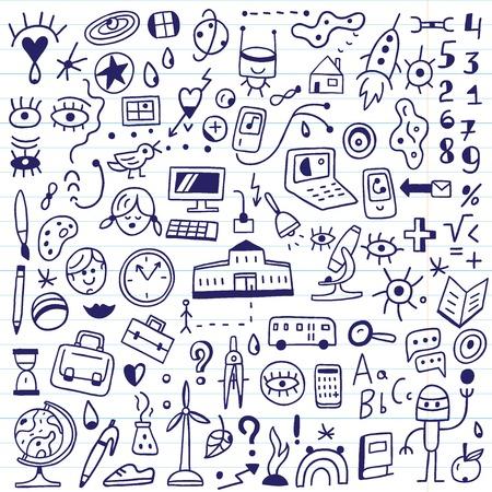 SCUOLA: simboli scuola - set di icone in stile schizzo