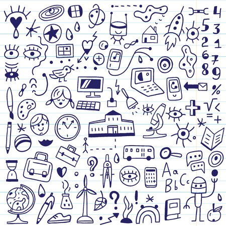 school symbols - set icons in sketch style