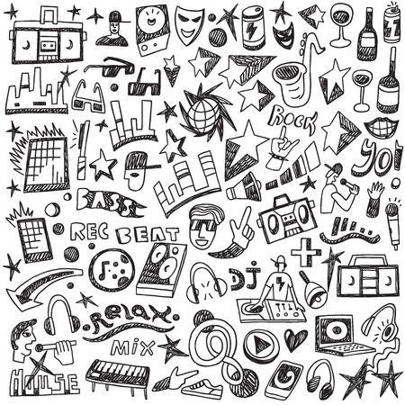 Music doodles - set icons in sketch style