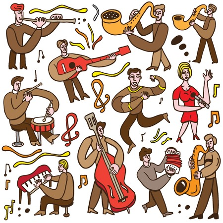 musicians cartoons - vector illustrations in sketch style Vector