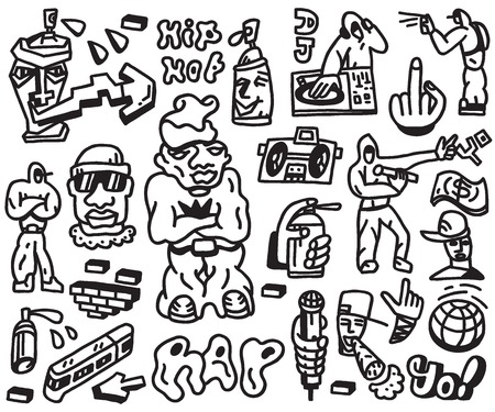 rap: rap ,hip hop - set vector icons in graphic style