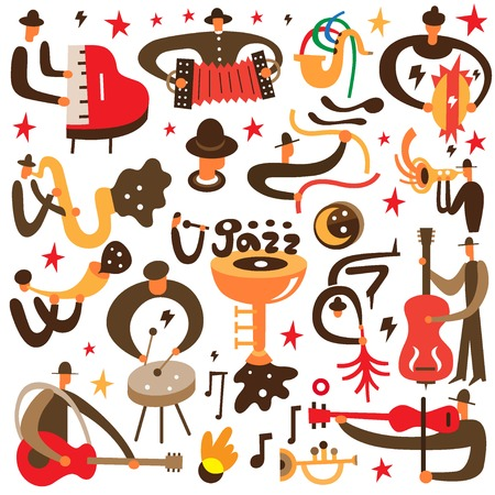 jazz musician: jazz musicians - set vector icons in graphic style