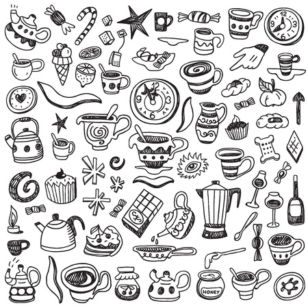 snack time: coffee cups, tea cups and sweets - doodles set