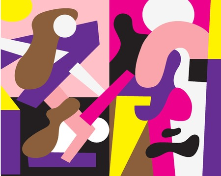 man and woman - illustration with abstract symbols