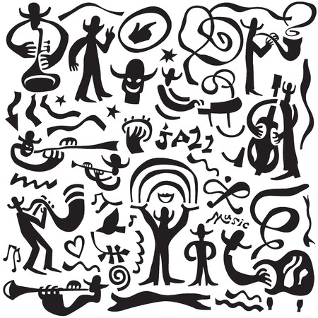 tuba: jazz musicians - set vector icons in graphic style , design elements