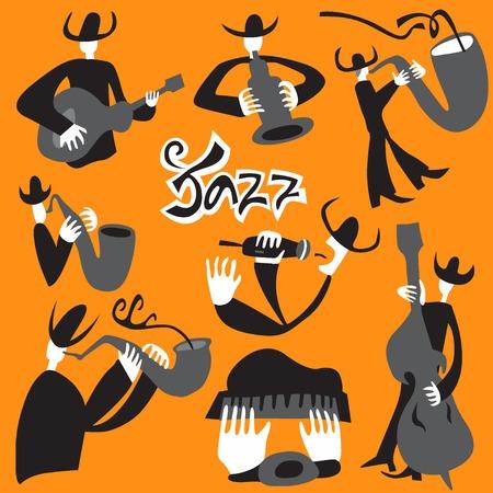 tenor: jazz musicians - set vector cartoons , design elements Illustration